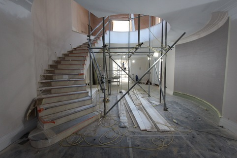 precast concrete curved stair installed in property