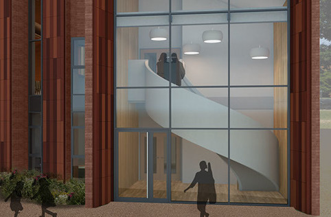 St Helen's School of Music - 3D render of completed building with curved stair