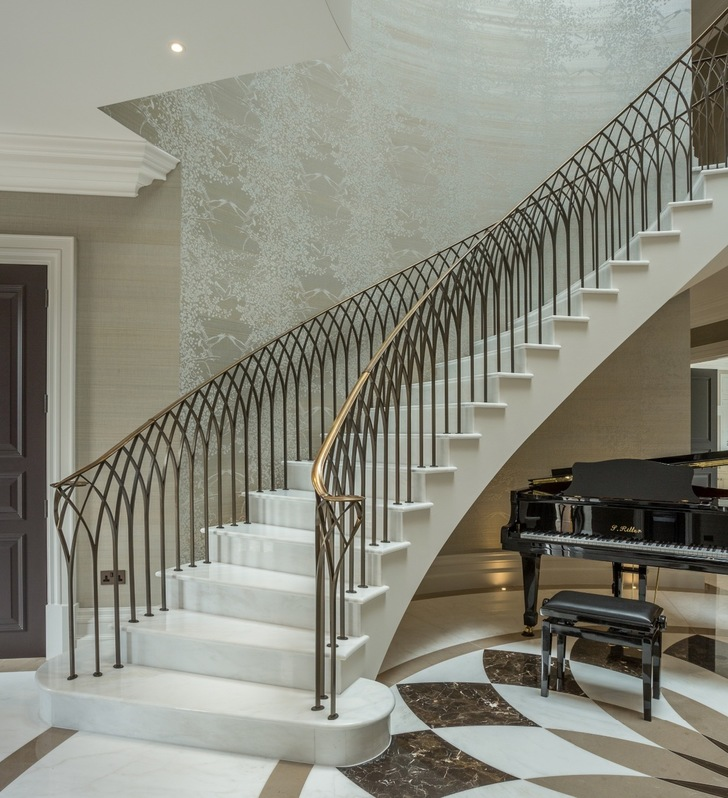 luxury precast concrete curved spiral helical stair staircase finished in house