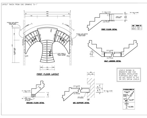 Y-shaped Concrete Staircase with landing CAD drawing