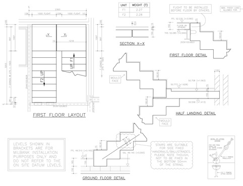 Sawtooth Staircase with Precast Concrete Landing Design Drawing