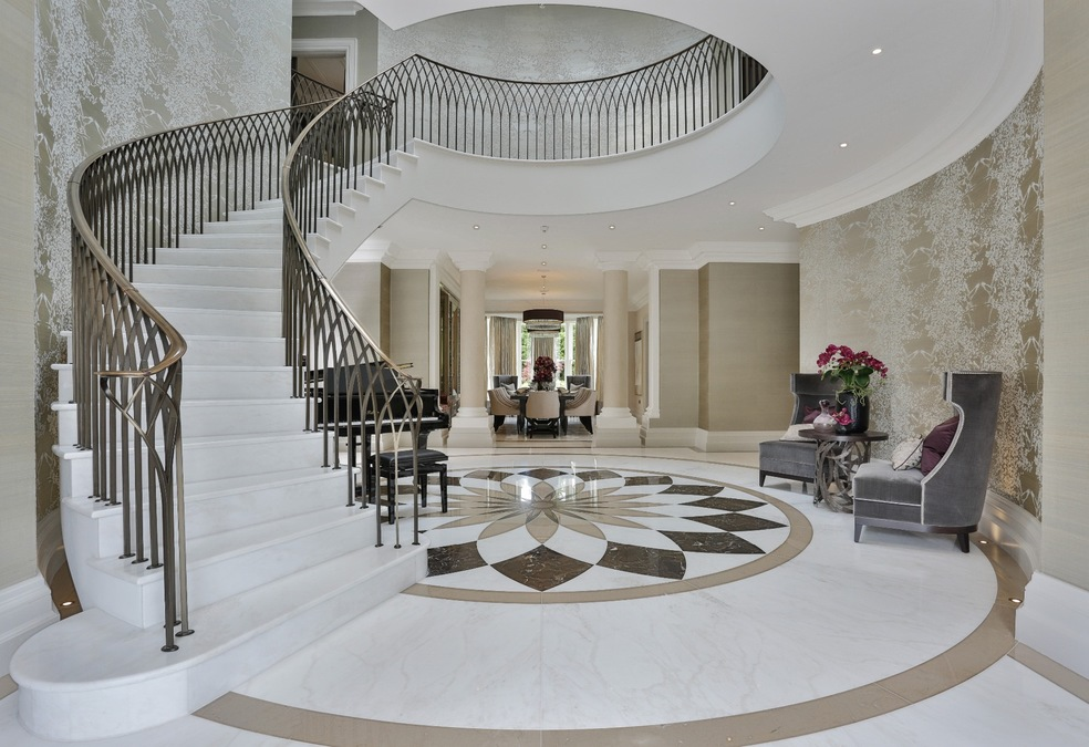 Kings Chase, Oxshott - Luxury Precast Concrete Curved Staircase London