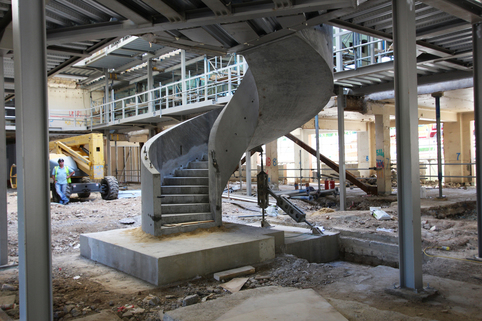 precast concrete luxury spiral curved helical stairs staircase installed in position