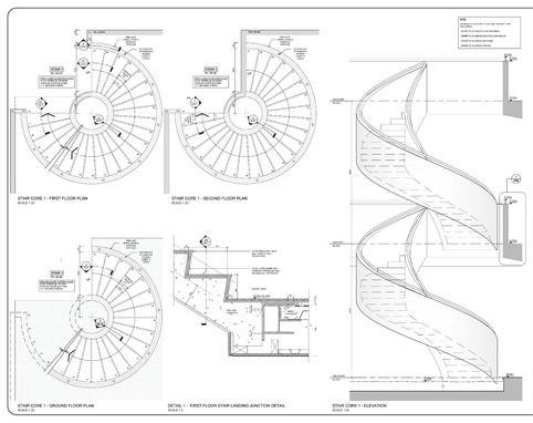 Concrete Spiral Staircase Design Drawing Details
