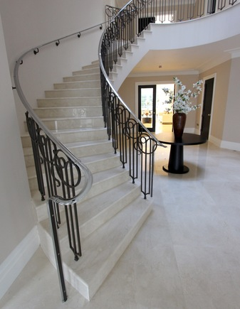 luxury curved spiral helical precast concrete stair staircase