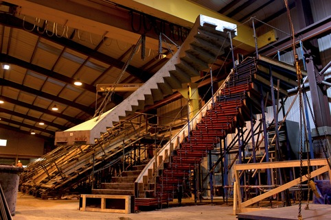 precast concrete stair craned from mould