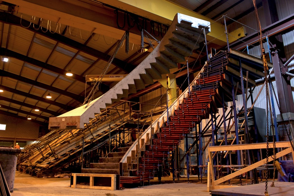 Precast Concrete Helical Stair De-Moulding in Factory